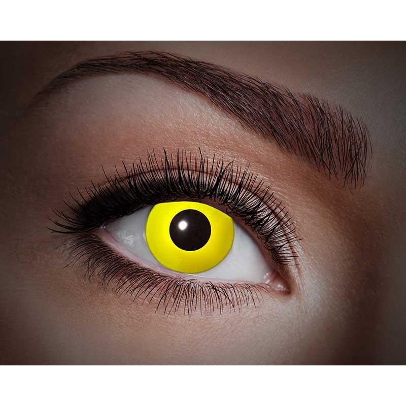 Lentilles de contact Halloween aux yeux jaunes qui réagissent aux lumières UV