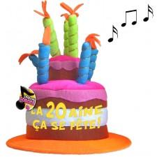Chapeau 20 ans musical en forme de gâteau pour anniversaire