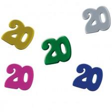 Confettis 20 ans pour décorer une table d'anniversaire
