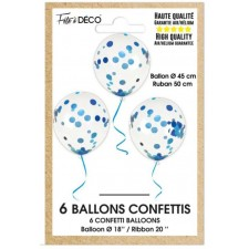 Lors de ballons confettis bleus en latex