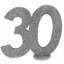 Décoration argentée 30 ans à poser sur une table d'anniversaire