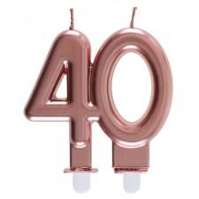 Bougie rose gold pour anniversaire 40 ans