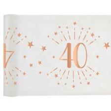 Chemin de table 40 ans rose gold décoratif de 5 mètres pour table d'anniversaire