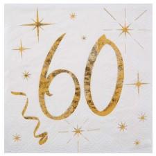 Serviettes blanches et dorées pour anniversaire 60 ans