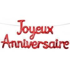 Guirlande joyeux anniversaire rouge en ballons originale