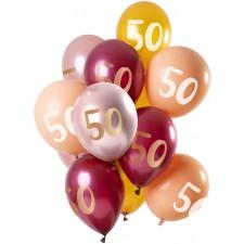 Grappe de 12 ballons en latex de 33 cm pour anniversaire 50 ans