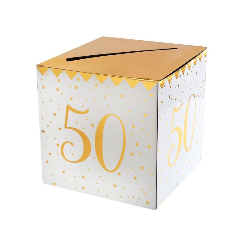 Urne d'anniversaire 50 ans blanche et dorée