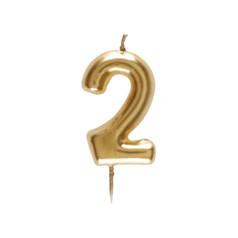 Bougie dorée en forme de chiffre 2 pas cher pour anniversaire
