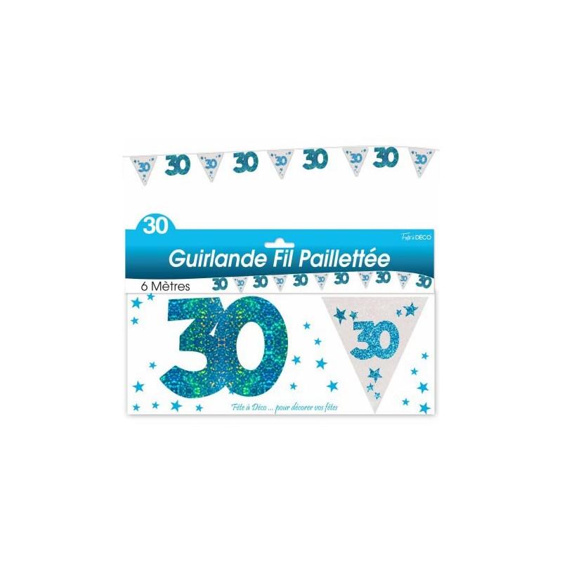 Guirlande pour réaliser une décoration d'anniversaire 30 ans bleue