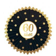 Décoration en forme d'éventail pour anniversaire 60 ans noir et or
