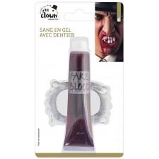 Dentier de vampire phosphorescent avec faux sang pour Halloween