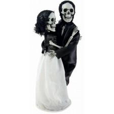 Décoration d'Halloween à poser couple de mariés squelettes