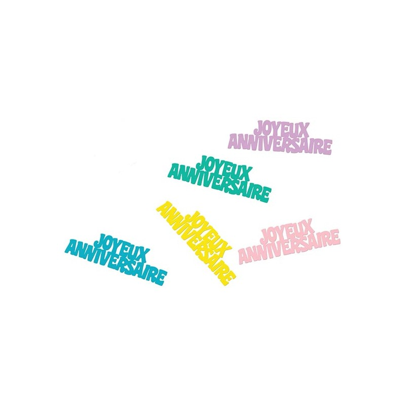Confettis joyeux anniversaire pastels pour décorer une table