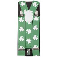 Bretelles vertes avec trèfles pour la Saint-Patrick