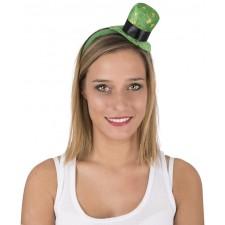 Serre-tête vert avec petit chapeau de la Saint-Patrick décoré avec des trèfles