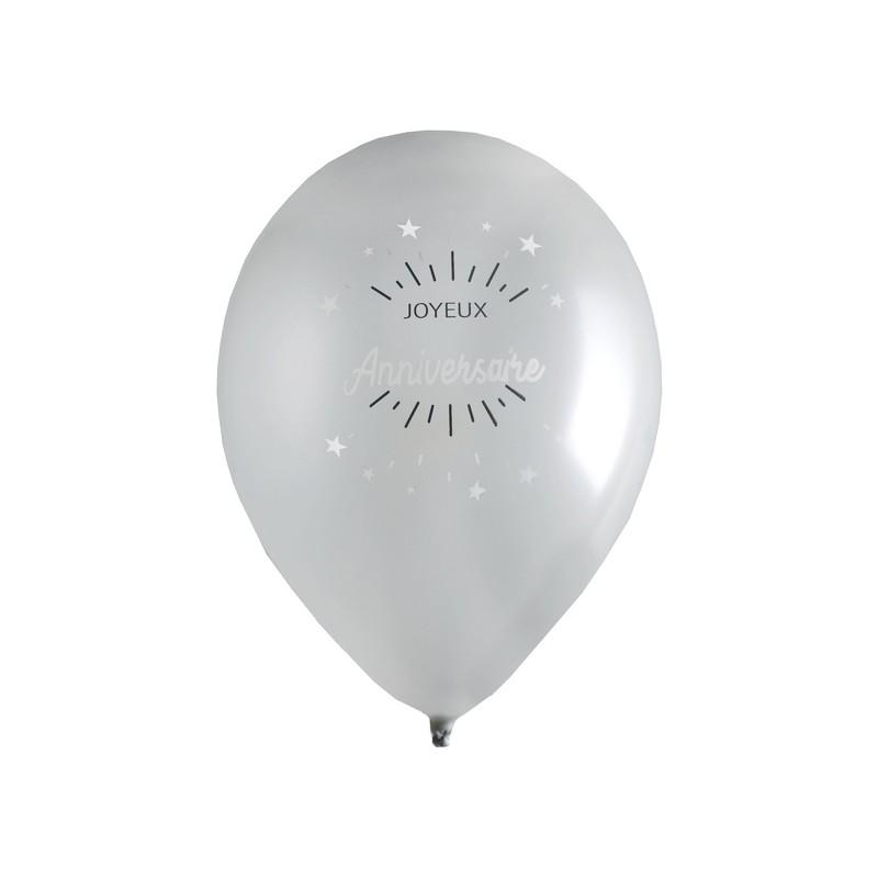 Ballon joyeux anniversaire couleur argent