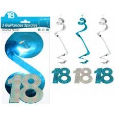 Décorations spirales anniversaire 18 ans bleu et argent