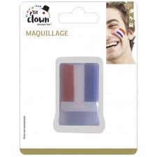 Maquillage tricolore bleu blanc rouge pour supporter la France