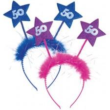 Serre-tête rose ou bleu pour cadeau d'anniversaire 50 ans