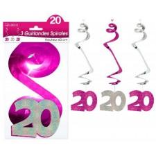 Guirlande anniversaire 20 ans rose en forme de spirales
