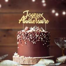 Top joyeux anniversaire doré pour décorer un gâteau d'anniversaire
