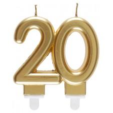 Bougie 20 ans dorée pour anniversaire