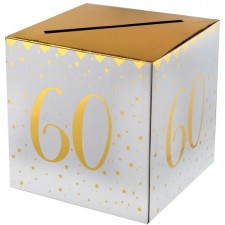 Urne pour anniversaire 60 ans or et blanc déco