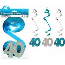 Décorations anniversaire 40 ans bleu et argent en forme de spirales - guirlande