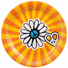 Assiettes peace ans love en carton pour décoration de table hippie