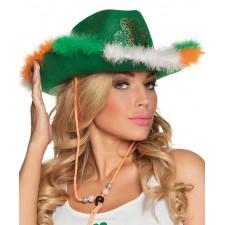 Chapeau de cowboy Saint-Patrick vert  avec trèfle