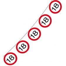 Guirlande anniversaire 18 ans en forme de panneaux de signalisation