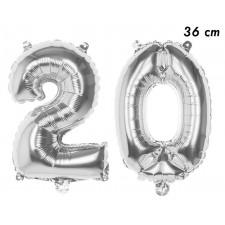 Ballons en forme de d'âge 20 ans argent de 36 cm