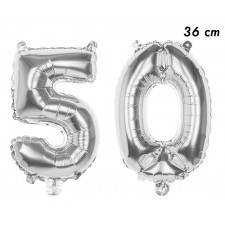 Ballons 50 ans en forme de chiffres couleur argent 36 cm