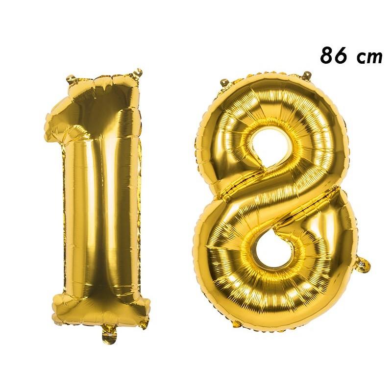 Ballons en forme de chiffres 18 ans âge mylar dorés
