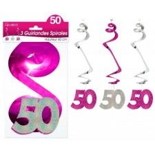 Guirlandes 50 ans en forme de spirales rose et argent
