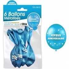 Ballons bleus joyeux anniversaire 30 cm air et hélium