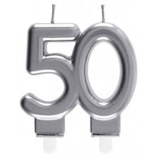 Bougie pour anniversaire en forme d'âge 50 ans couleur argent