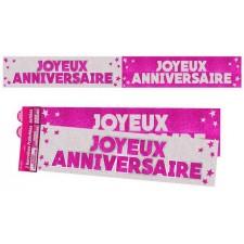 Bannières anniversaire rose argent pour décoration
