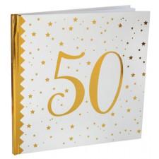 Livre d'or doré pour anniversaire 50 ans