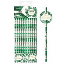 Pailles en carton avec motifs de feuilles de la jungle pour anniversaire