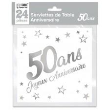 Serviettes en papier pour anniversaire 50 ans blanches et argentées