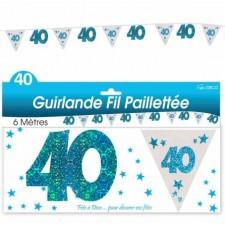Décoration anniversaire 40 ans bleue - guirlande