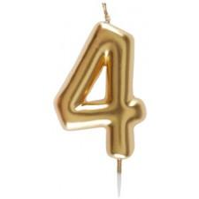 Bougie d'anniversaire dorée en forme de chiffre 4