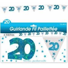 Guirlande anniversaire 20 ans bleue décoration de salle