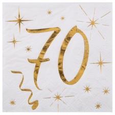 Serviettes anniversaire 70 ans dorées