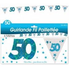 Décoration guirlande 50 ans anniversaire bleue