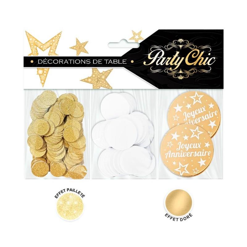 Confettis de table d'anniversaire dorées