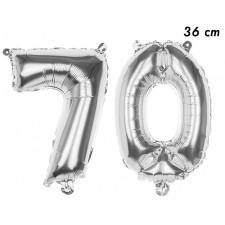 Ballon anniversaire en forle d'âge 70 ans couleur argent
