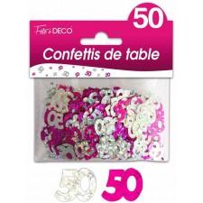 Confettis de table d'anniversaire 50 ans rose et argent pour décoration