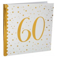 Livre d'or blanc et doré pour anniversaire 60 ans